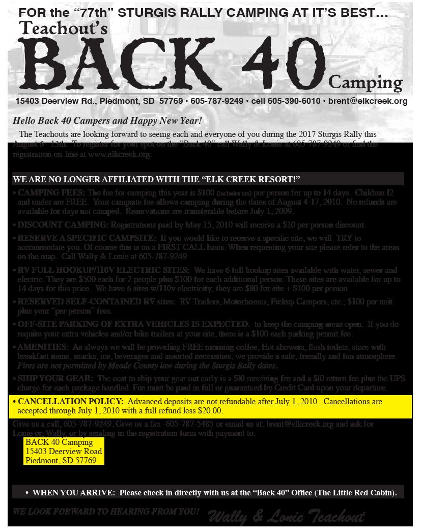 ... Back40 Photos, Info Sheet